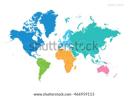 World Map World Continents Europe Australia Stock Vector - Map of world continents
