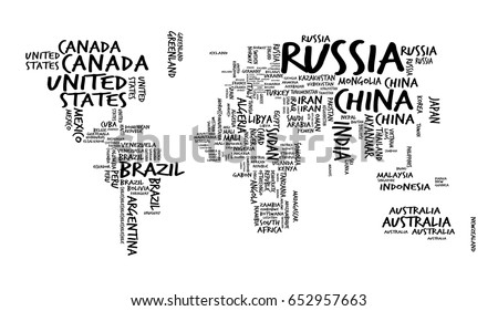 Vector World Map Country Names Typography Stock Vector - World map pic with country name