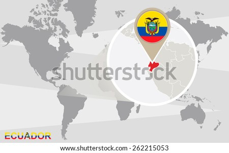 Ecuador Map Flag Circle Map Ecuador Stock Vector - Map of ecuador world
