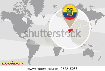 Ecuador Map Flag Circle Map Ecuador Stock Vector - Map of ecuador world