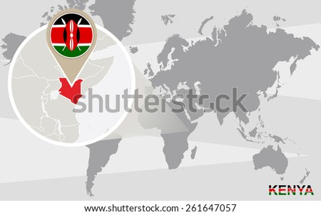 Abstract Blue World Map Magnified Kenya Stock Vector 430324525