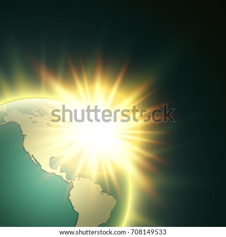 Vector world map rising sun globe vectores en stock 607516505 world map with rising sun banner globe icon in space sunlight poster planet earth gumiabroncs Image collections