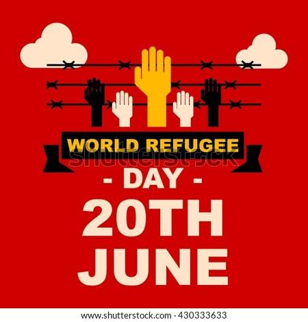 world refugee day campaign poster refugee stock vector 430333576 shutterstock. Black Bedroom Furniture Sets. Home Design Ideas