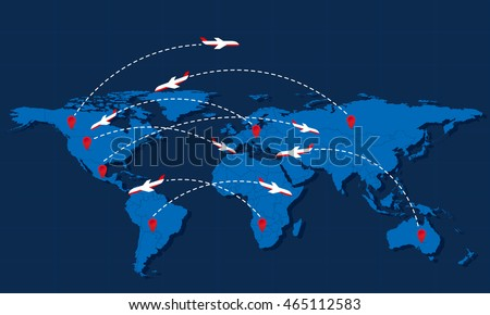 Map world points interest trajectory lines vectores en stock world travel map with airplanes and markers vector illustration modern flat design gumiabroncs Images