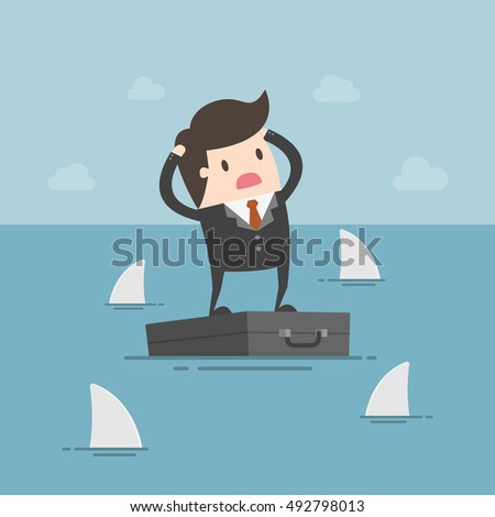 Worried Businessman Standing On Briefcase In The Sea And Surrounded By Sharks. Business Concept Cartoon Illustration. Risk, Crisis.