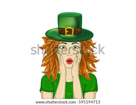 Catleprechaun Watercolor Painting Stock Illustration