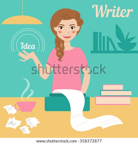 Writer. Vector isolated illustration. Cartoon character