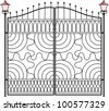 Wrought Iron Gate, Door, Fence, Window, Grill, Railing design - stock vector