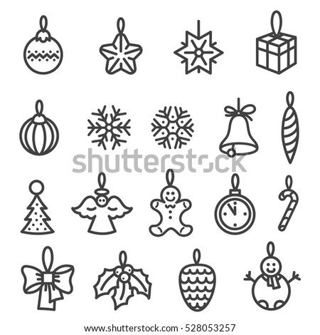 Xmas and new year tree decorations. Set of outline icons. Black line icon isolated on white.