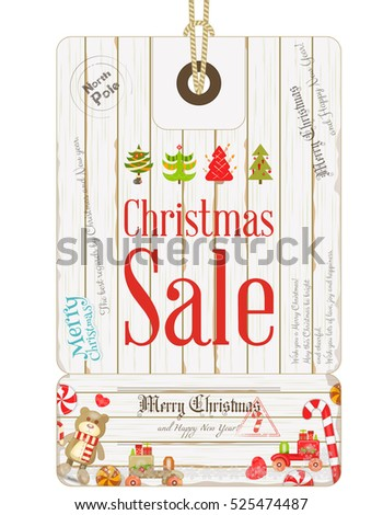 Xmas Sale Tag in Vintage Style. Holiday Discounts. Winter Sell-out Label. Decorated Christmas Tree. Vector Illustration