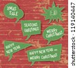 Xmas speech bubbles on wooden texture. Vector illustration, EPS10. - stock photo