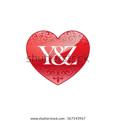 Xn Initial Letter Logo Ornament Heart Stock Vector ...