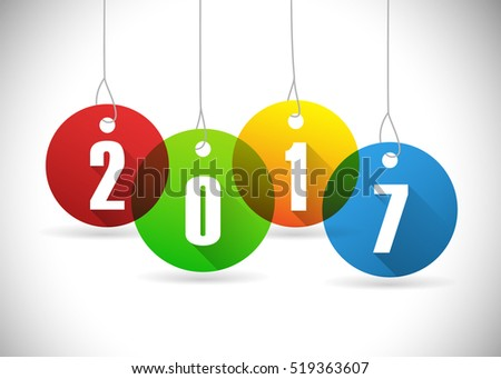 Year 2017 on hanging circles