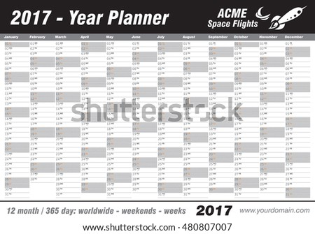 Year Planner Calendar 2017 - International worldwide printable organizer planner scheduler - with dates, days of the month - space for personal notes. Week starts Monday. Black, grey, vector