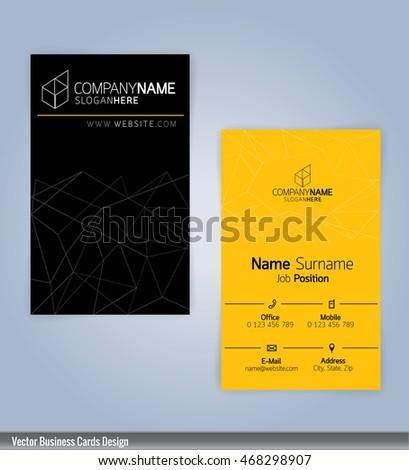 yellow black modern business card template stock vector