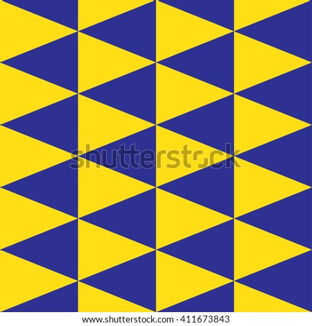 Yellow and blue color tone. Seamless triangle pattern.