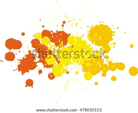 Yellow and orange blobs. Background with vector blots and vector splashes of paint. Autumn pattern Yellow smudge, Red blot, Orange smear, Yellow  dab, Yellow blotch, Yellow blur