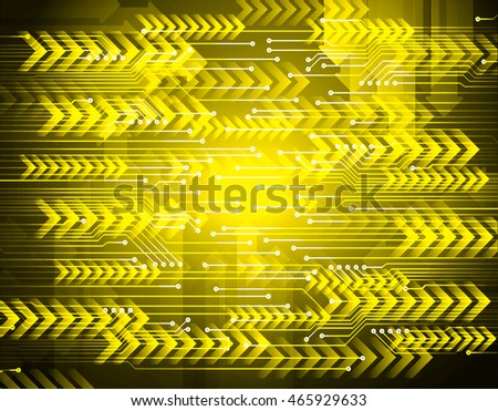 yellow arrow abstract cyber future technology concept background, illustration, circuit, binary code. move motion speed. sci-fi