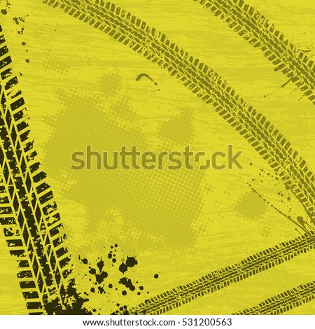 Yellow background with dark tire tracks and ink blots