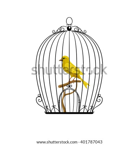 yellow bird in a black cage vector illustration