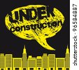 yellow buildings with thought bubble, under construction. vector - stock