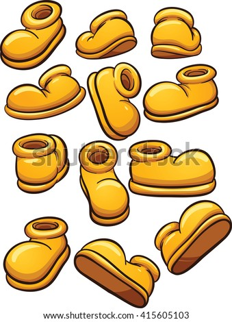 Yellow cartoon shoes. Vector clip art illustration with simple gradients. Each on a separate layer.