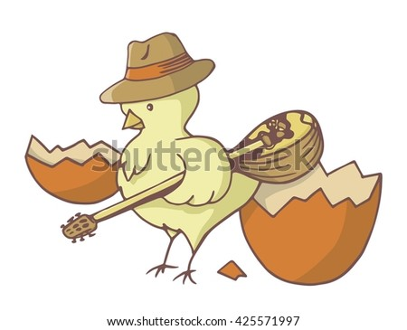 Yellow chick bird just out of the easter egg wearing a hat and holding a bouzouki.