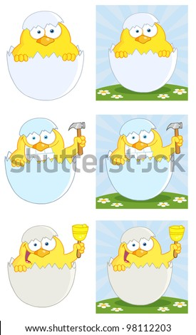 Yellow Chick Peeking Out Of An Egg Shell. Vector Collection
