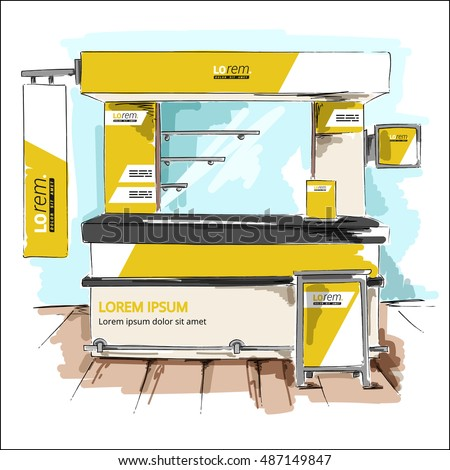 Yellow exhibition stand design. Booth template. Corporate identity sketch in a drawing style