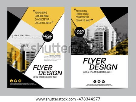Yellow Flat Modern Brochure Layout Design Stock Vector 478353376
