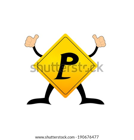 Yellow Label  P letter