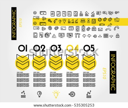 yellow linear infographic outline big arrows, outline concept