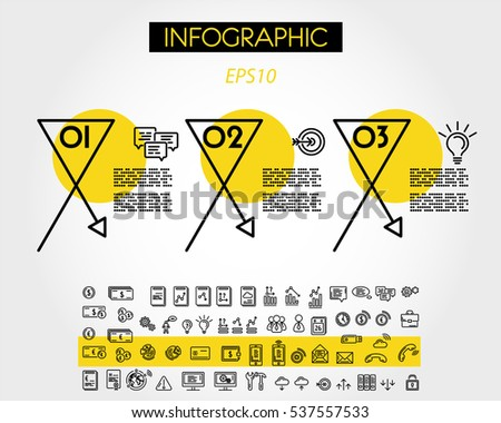 yellow linear infographic x elements with arrow, outline concept