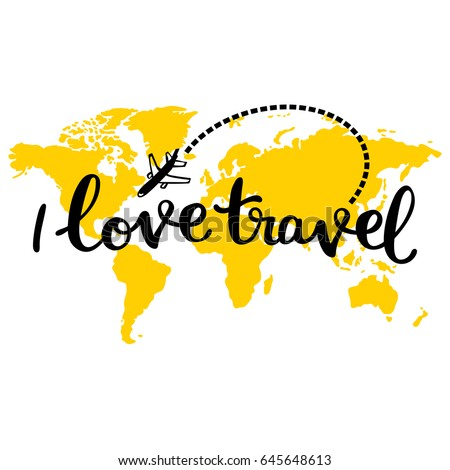 Traveling world map airplane isolated vector stock vector for World love images