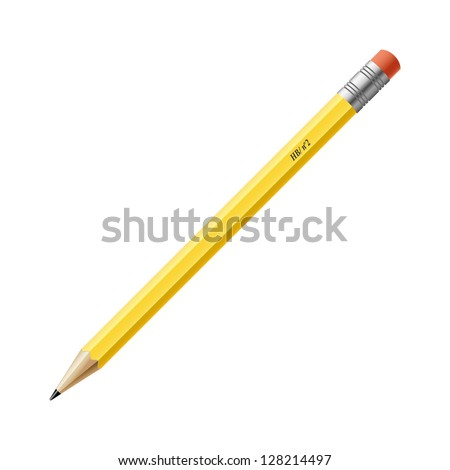 yellow pencil on white background. vector