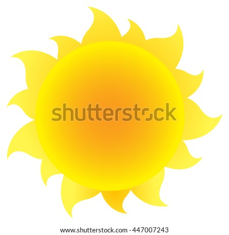 Yellow Silhouette Sun With Gradient. Vector Illustration Isolated On White Background