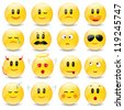 Yellow Smiley Balls With Positive And Negative Emotions With Gradient Mesh, Vector Illustration - stock photo