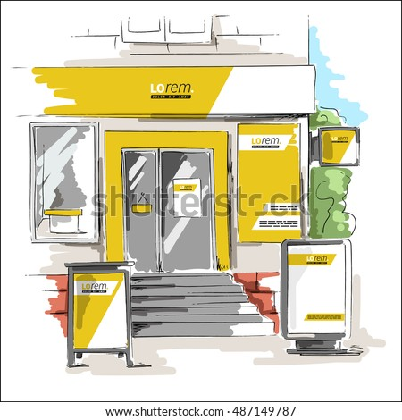 Yellow store design. Elements of outdoor advertising. Corporate identity sketch in a drawing style