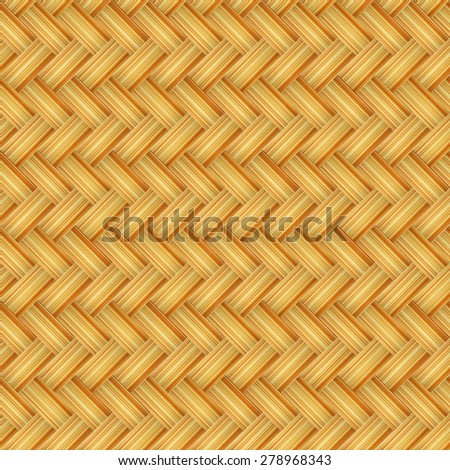 Yellow wicker woven basket texture vectorial pattern.