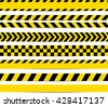 Yellow with black police line and danger tapes. Vector  - stock vector