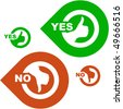 Yes and No icon. Vector set. - stock photo