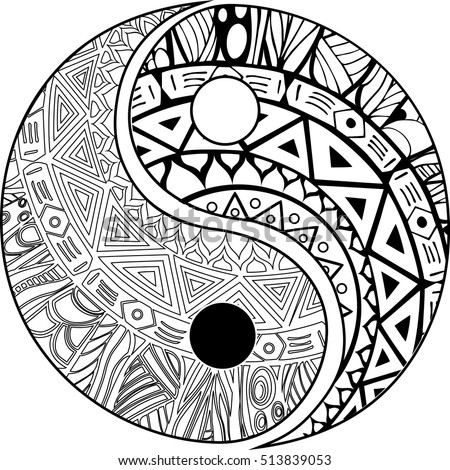 Vector henna tatoo mandala yinyang decorative stock vector for Ying yang coloring pages
