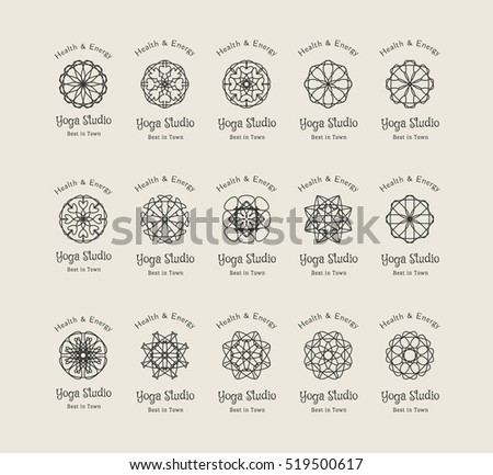Yoga ornamental emblem set. Vector lineart logo templates for relax or spa center, yoga studio, healthcare and traditional medicine