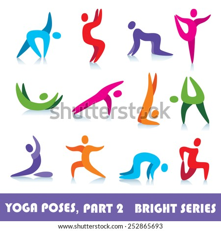 Yoga poses logo abstract people vector icons, part 2, bright series