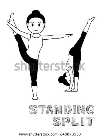 yoga poses kid vector illustration stock vector 417338044