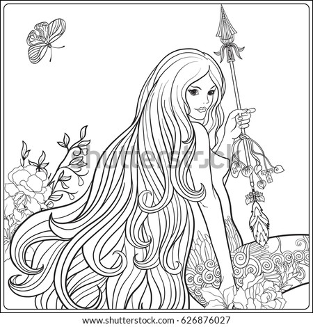 young beautiful girl with long hair with arrow and roses stock line vector illustration