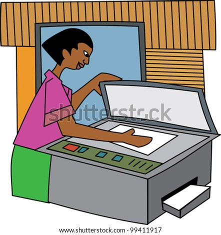 Young black professional woman photocopying