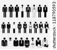 Young business men in a different suit - Silhouettes - Vector illustration - stock photo