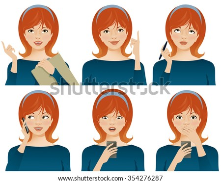 Young business woman with various facial expressions, gesturing and using smartphone. Vector illustration