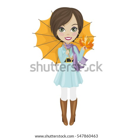 Young girl with umbrella in autumn dress